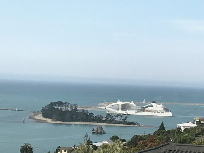 Seabourn heading out through The Cut at Nelson