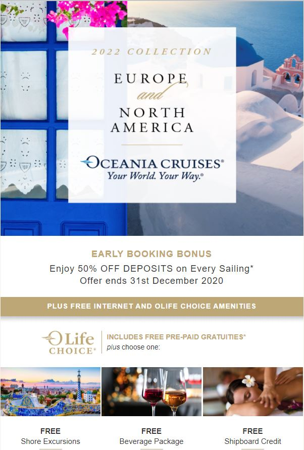 Oceania Cruises 2022 Europe and North America