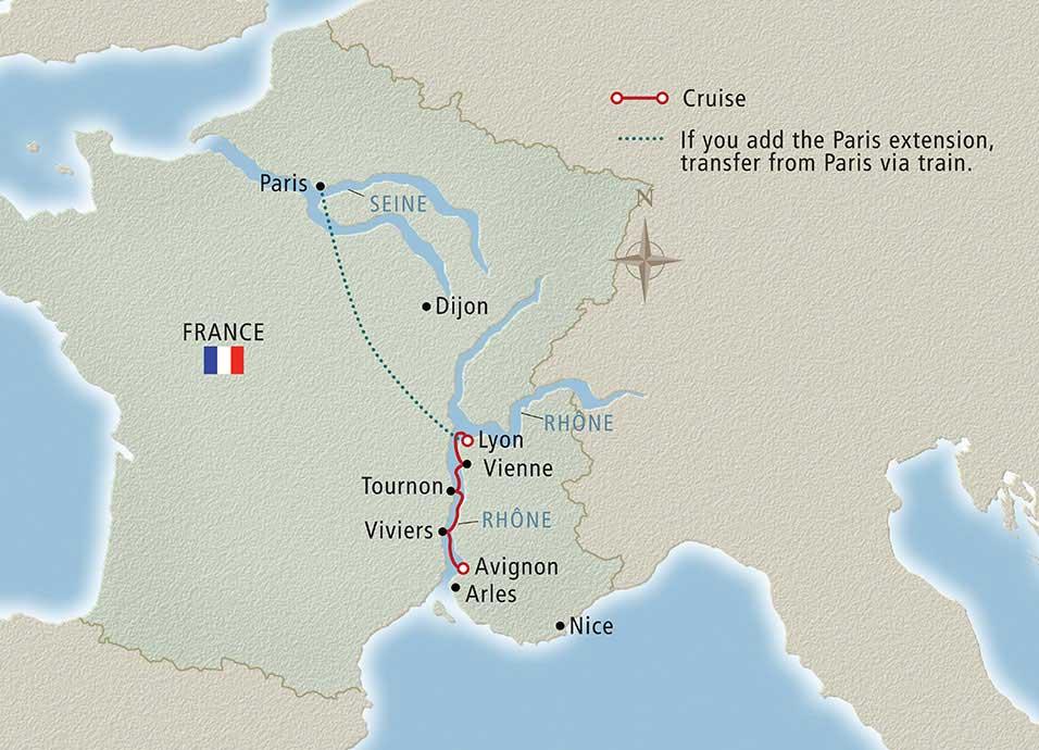 Map France 987.Lyon Provence Viking Longship Delling Cruise Deal Hoot